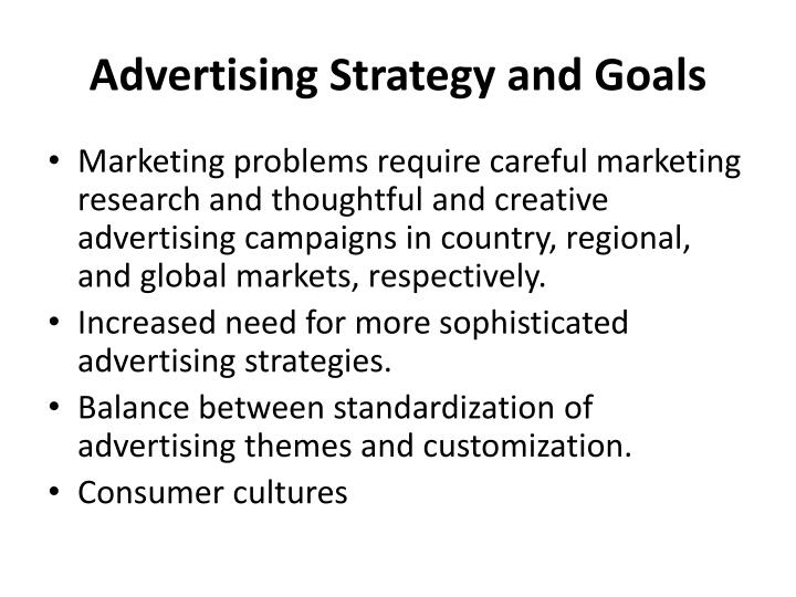 Advertising Strategy and Goals