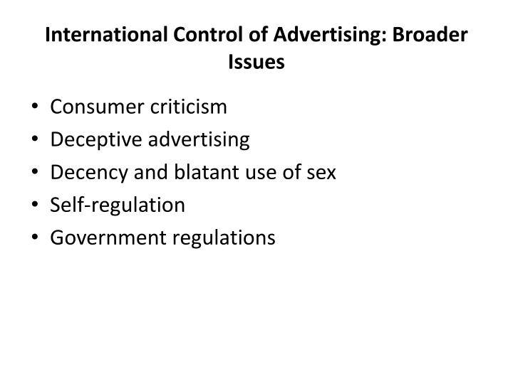 International Control of Advertising: Broader Issues