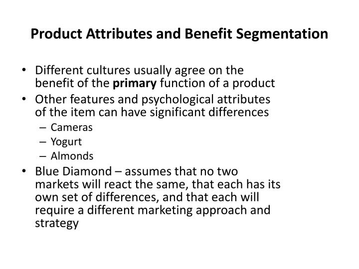 Product Attributes and Benefit Segmentation