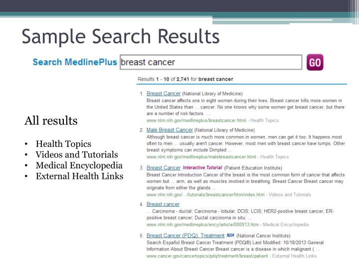 Sample Search Results