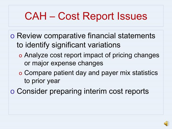 CAH – Cost Report Issues