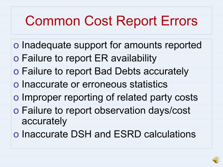 Common Cost Report Errors