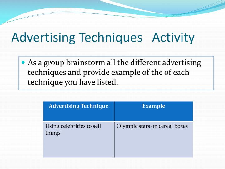 Advertising Techniques   Activity