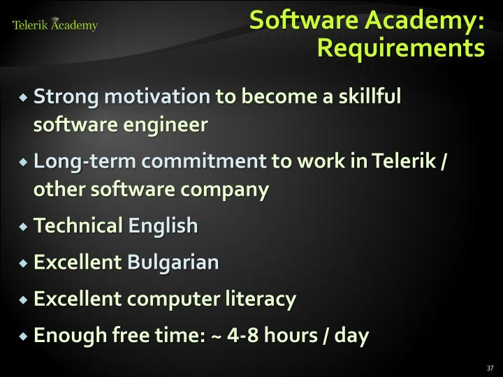 Software Academy: Requirements