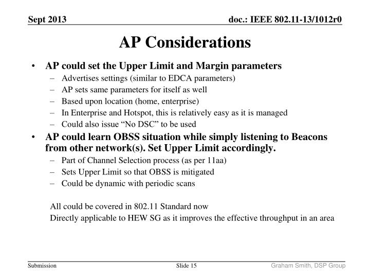 AP could set the Upper Limit and Margin parameters