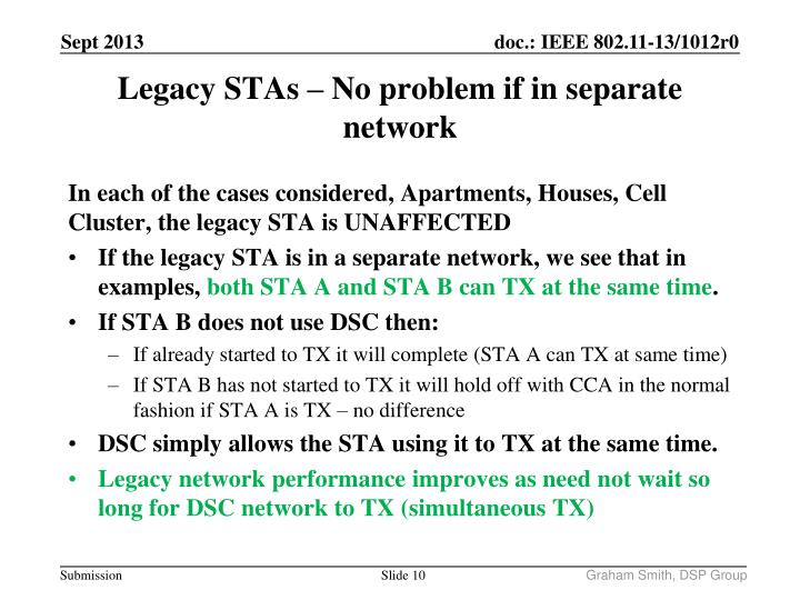 In each of the cases considered, Apartments, Houses, Cell Cluster, the legacy STA is UNAFFECTED