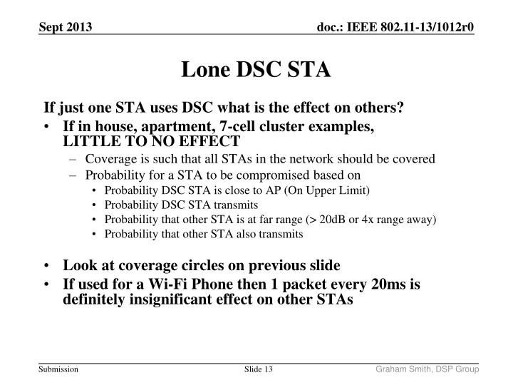 If just one STA uses DSC what is the effect on others?