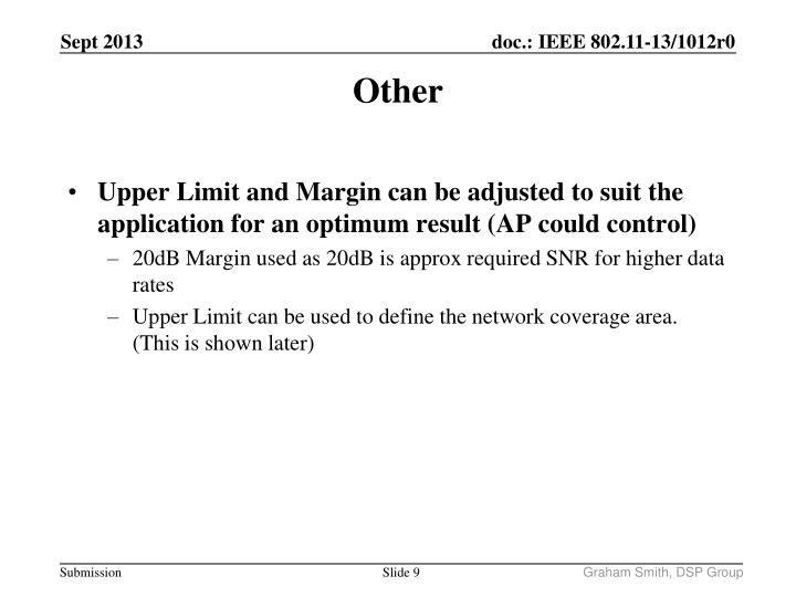 Upper Limit and Margin can be adjusted to suit the application for an optimum result (AP