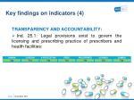 key findings on indicators 4