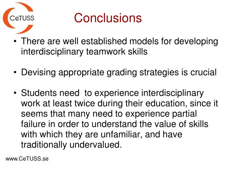 There are well established models for developing interdisciplinary teamwork skills