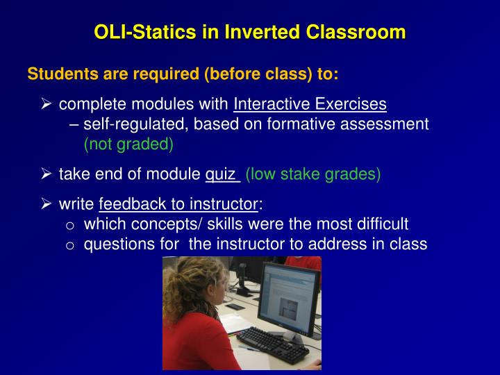 OLI-Statics in Inverted Classroom