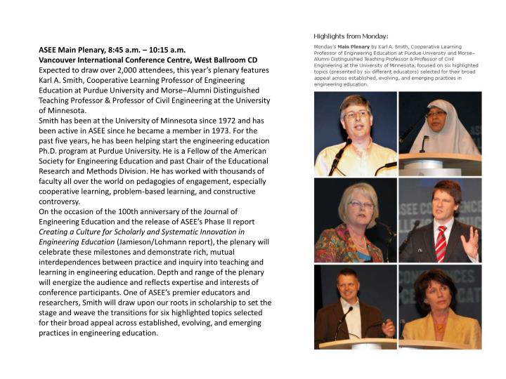 ASEE Main Plenary, 8:45 a.m. – 10:15 a.m.