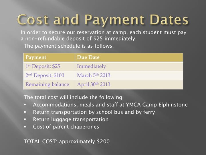 Cost and Payment Dates