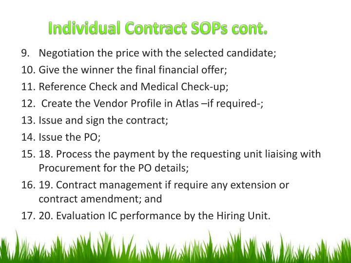 Individual Contract SOPs cont.