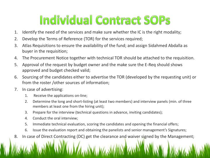 Individual Contract SOPs