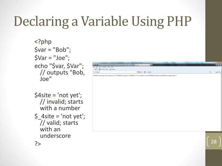 Declaring a Variable Using PHP