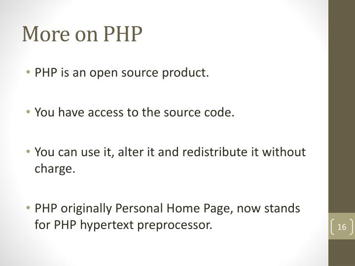 More on PHP