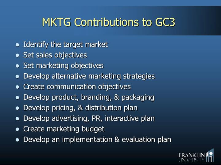 MKTG Contributions to GC3