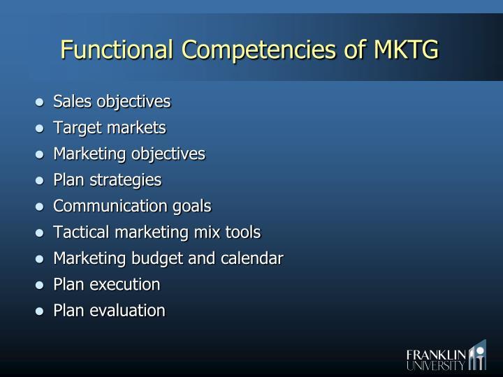 Functional Competencies of MKTG