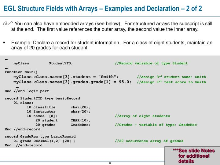 EGL Structure Fields with Arrays – Examples and Declaration – 2 of 2