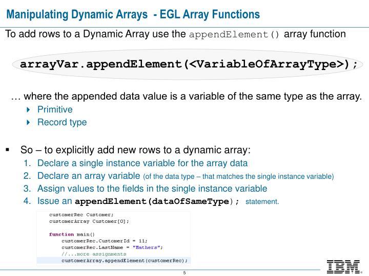 Manipulating Dynamic Arrays  - EGL Array Functions