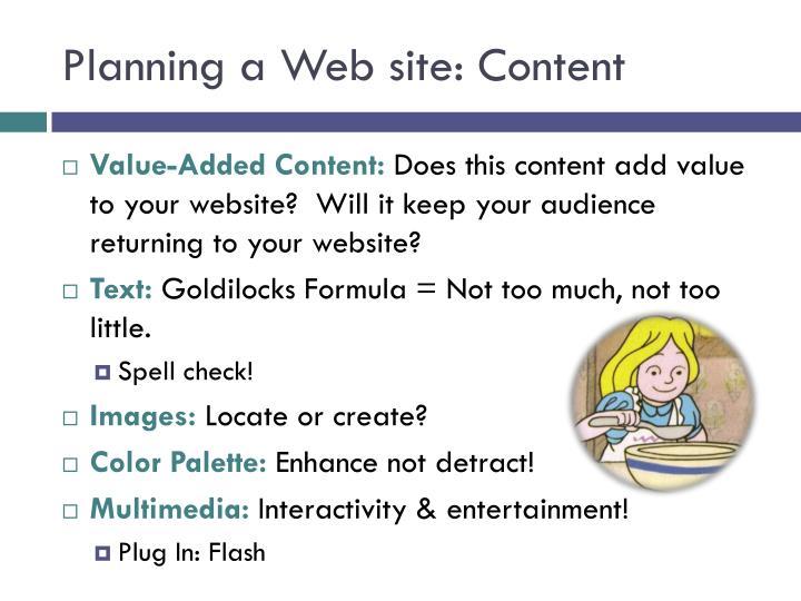 Planning a Web site: Content