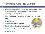 planning a web site content