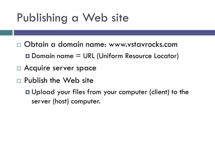 Publishing a Web site
