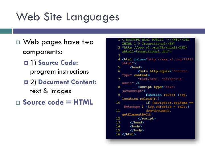 Web Site Languages