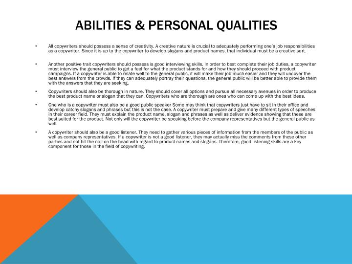 Abilities & Personal Qualities