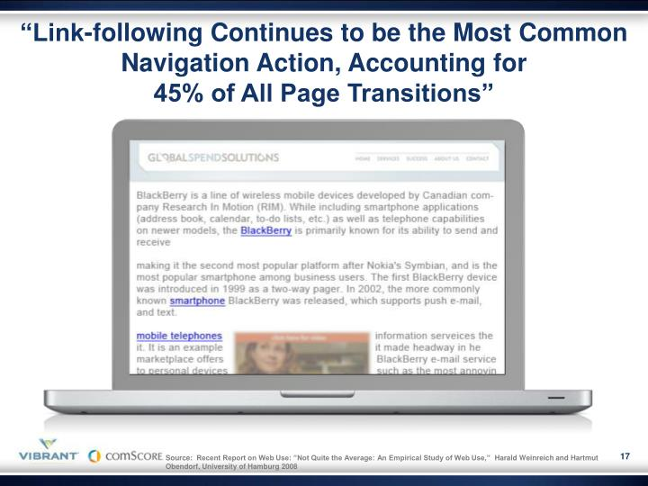 """""""Link-following Continues to be the Most Common Navigation Action, Accounting for"""