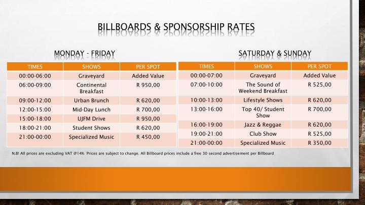 BILLBOARDS & SPONSORSHIP RATES