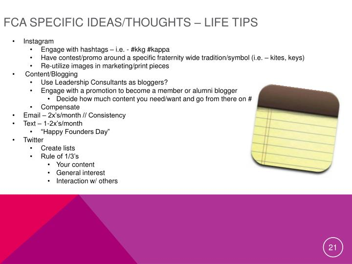 FCA Specific Ideas/Thoughts – Life Tips