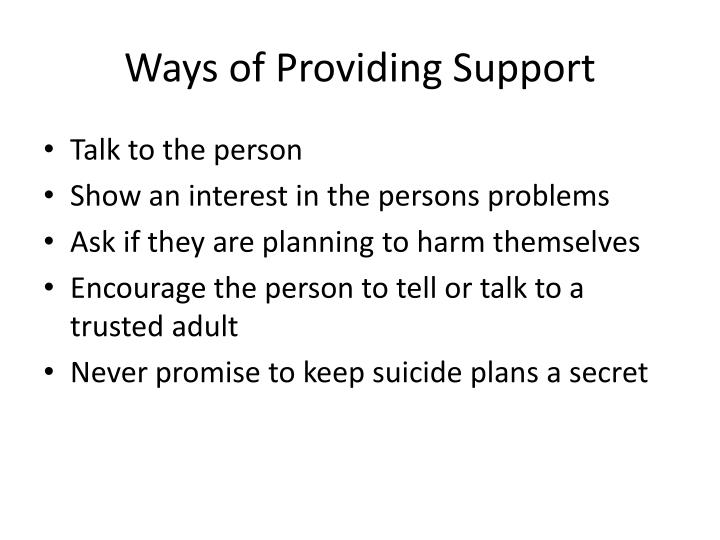 Ways of Providing Support