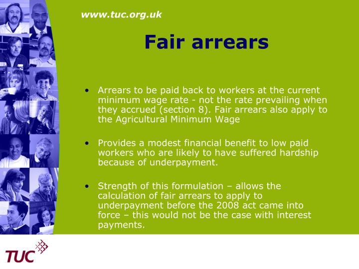 Fair arrears
