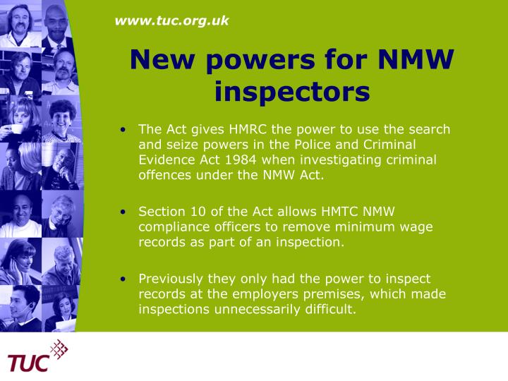 New powers for NMW inspectors