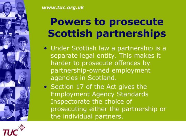 Powers to prosecute Scottish partnerships