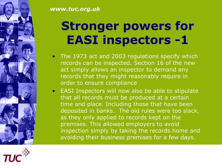 Stronger powers for EASI inspectors -1