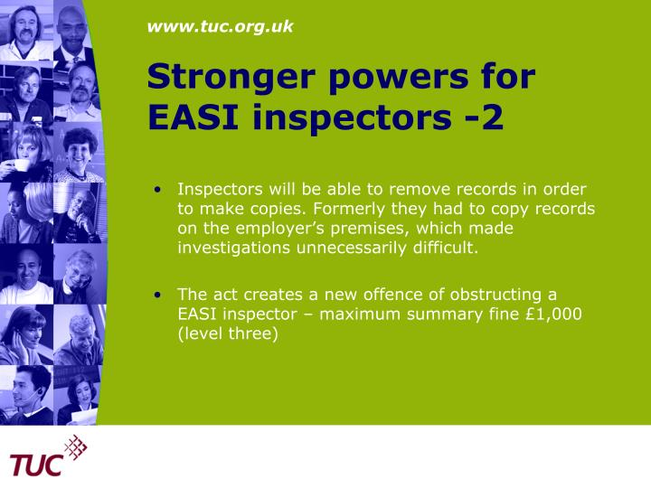 Stronger powers for EASI inspectors -2