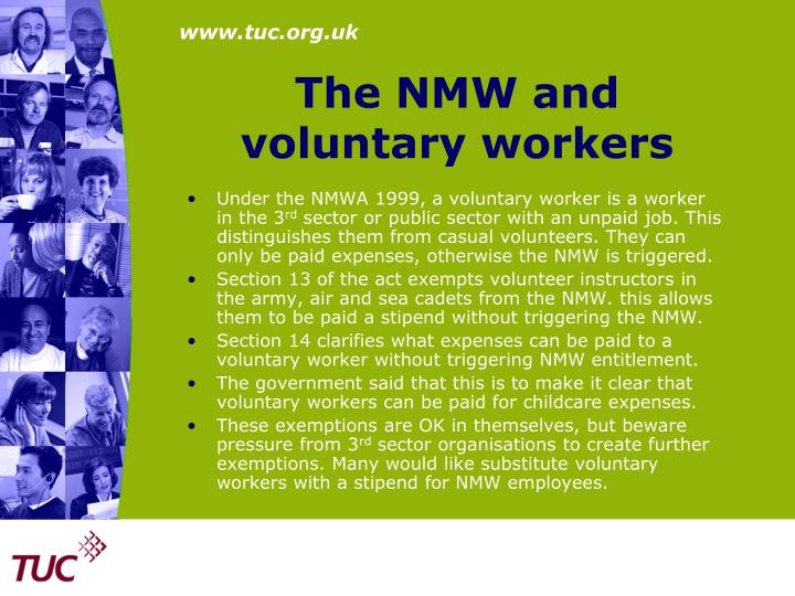 The NMW and voluntary workers