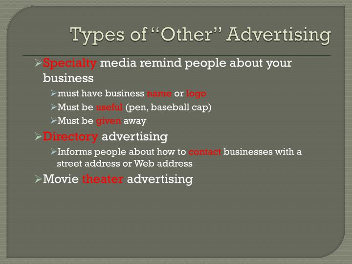 "Types of ""Other"" Advertising"