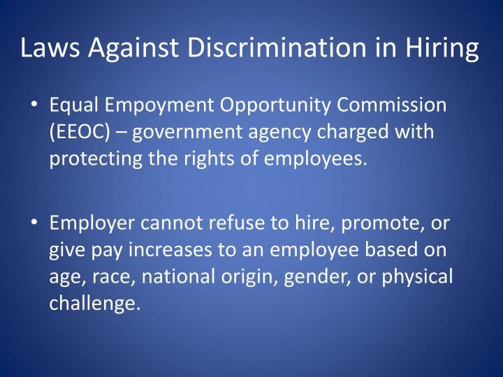 Laws Against Discrimination in Hiring