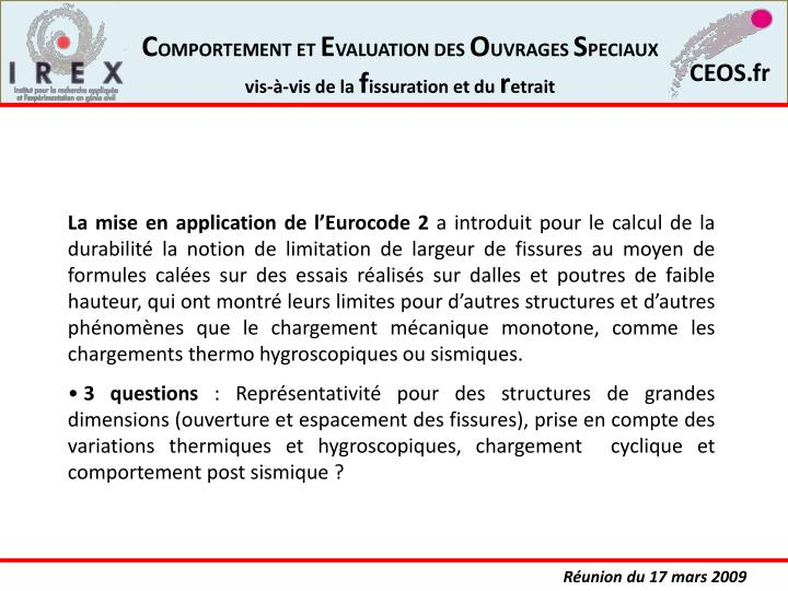 La mise en application de l'Eurocode 2