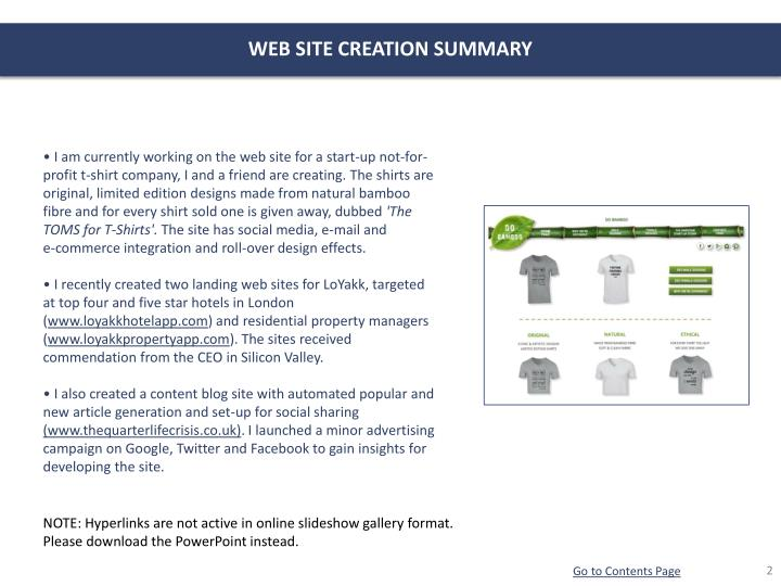 WEB SITE CREATION SUMMARY