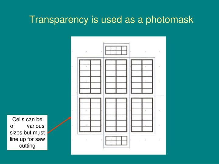 Transparency is used as a photomask
