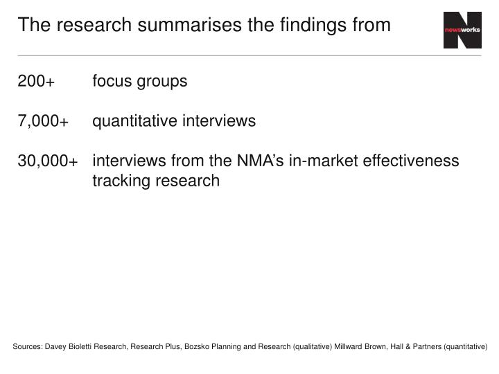 The research summarises the findings from