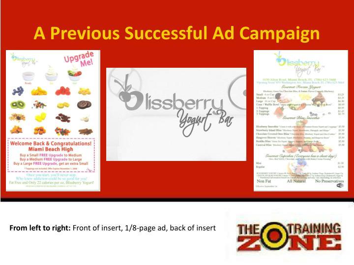 A Previous Successful Ad Campaign