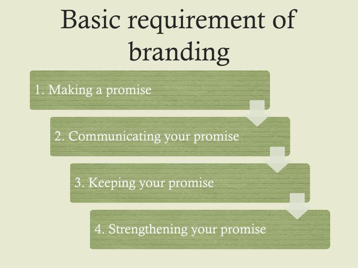 Basic requirement of branding