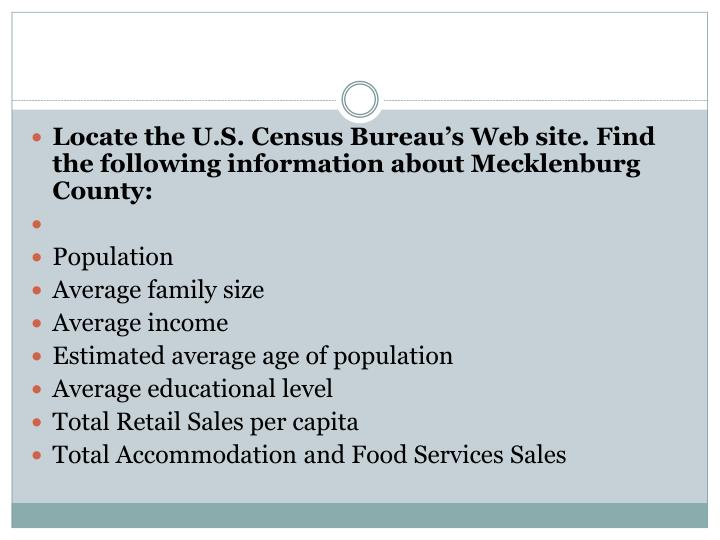Locate the U.S. Census Bureau's Web site. Find the following information about Mecklenburg County: