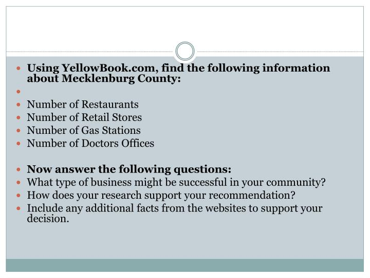 Using YellowBook.com, find the following information about Mecklenburg County: